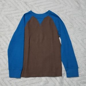 Boys size 8 / 10 blue brown thermal long sleeve